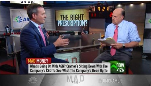 Brent Saunders discussing the political landscape with Jim Cramer
